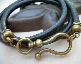 Unisex Mens Womens  Antique Bronze - Black Double Wrap Leather Bracelet  Urban Survival Gear USA ABB04