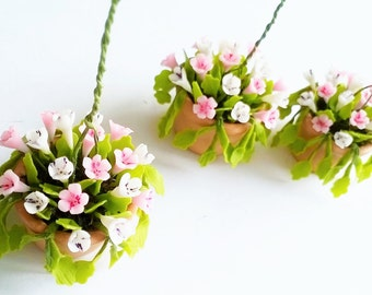 Miniature Polymer Clay Flowers Supplies Hanging Pot, Morning Glory for Dollhouse 1 pcs