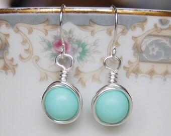 Mint Earrings , Bridesmaid Earrings , Silver Drop Earrings , Mint Silver Earrings