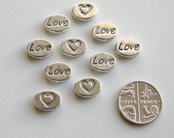 10 Silver Oval Love Spacer Beads 10x6mm