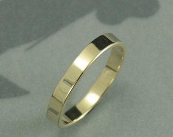 10K Gold Wedding Band--Gold Wedding Ring-Flat Edge Band-Flat Gold Band-Flat Gold Ring-Modern Gold Band--Pipe Edge Band