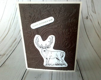 Father's Day Card, Hunting Dad Card, Happy Father's Day, Deer Card for Dad, Masculine Card, Handmade Card, Paper Greeting, Blank Card