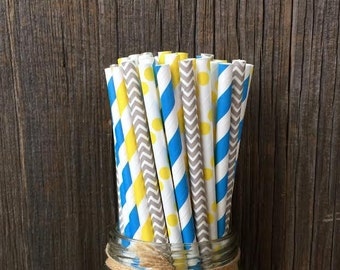 100 Blue,Yellow and Gray Stripe, Chevron and Polka Dot Paper Straws- Minion Themed Party- Birthday Supply- Picnic Supply-Cake Pops