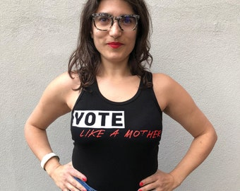 Vote Like a Mother Racer Tank in Black