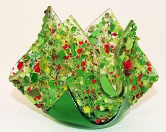 Glassworks Northwest - Votive Merry - Fused Glass Candleholder