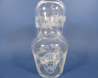Vintage Frosted Cameo Glass Bedside Water Pitcher Carafe -  Water Pitcher and Glass