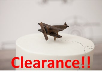 Old Fashion, Vintage Airplane Cake Topper, Wood Toy Plane, Varnish, Smash the Cake, overthetopcaketopper, Birthday, Clearance, Sale