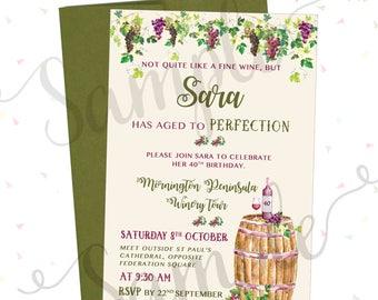 Personalised WINE Theme / VINEYARD /  Birthday  Invitation