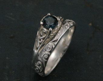 The Cinderella Bridal Ring Set--Silver Antique Style Engagement Ring and Flourish Wedding Band Set--London Blue Topaz Ring Set
