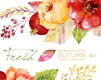 Fresh Autumn Elements Clipart + Bouquet. Handpainted watercolor, wedding invitation, separate floral elements, greeting, diy, pomegranate