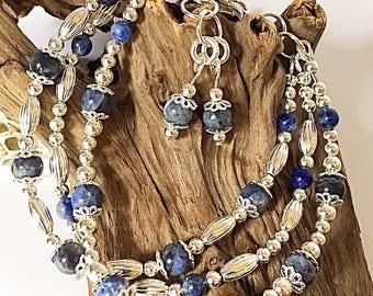 Wrap bracelet, graduation gift for her, gemstone bracelet, sodalite bracelet, bohemian bracelet, silver bracelet, artisan jewelry
