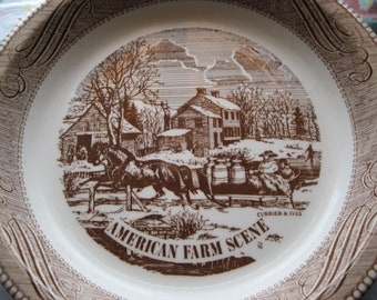 Vintage Currier & Ives American Farm Scene Pie Plate by Royal China Jeannette Corp.
