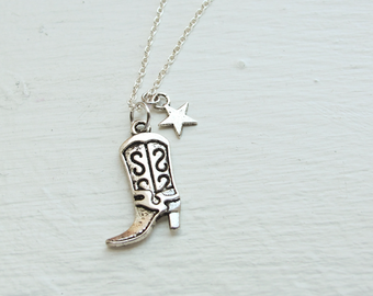 Cowboy Boot and Star Necklace- Silver Charm Jewelry- Shoe, Boot, Leather, Heels- 925 Sterling Silver or silver tone chain