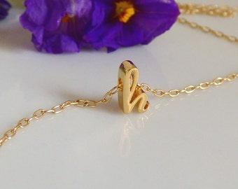 Cursive Necklace, Gold Cursive Necklace, Gold Necklace, Cursive Letter Necklace, Personalized Cursive Necklace, Dainty Necklace