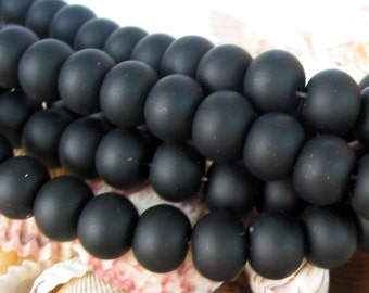 """8"""" 19pcs JET BLACK 14mm x 11mm LARGE sea beach glass rondelle Beads frosted recycled"""
