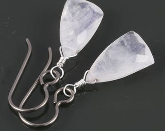 Rainbow Moonstone Earrings. Titanium Ear Wires. Unique Triangle Shape. Genuine Gemstone. June Birthstone. s17e014