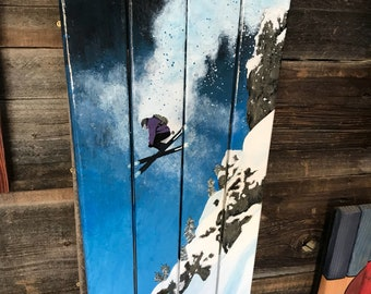 Cliff jumping skier Wall Flag Art Hand-Painted on Upcycled Skis