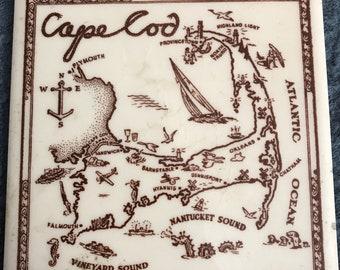 Vintage Cape Cod Map tile trivit