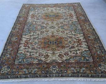Turkish rug vintage rug oushak rug old rug pastel rug anatolian rug 9.ft_6.5ft