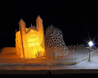 King's College Chapel birthday Christmas card from an altered book sculpture Cambridge University