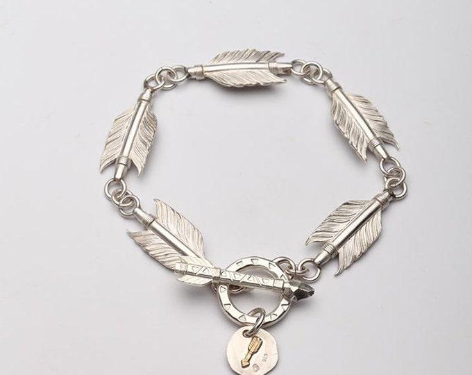Arrow Feather Bracelet | Sterling Silver Bracelet | Tribal Bracelet | Arrow Jewelry | 18K Gold Arrow Bracelet | Arrow Charm | Feather Charm