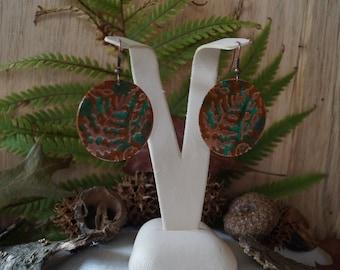 Embossed Fern Copper Disc Earrings