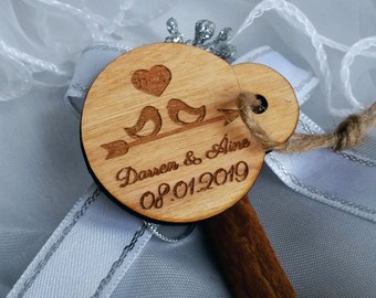 save the date tags / wood save the date tags / love bird tag / round tags