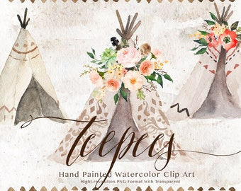 Watercolor teepee clip art/Wedding/Clip art collection/Individual PNG files/Hand Painted/boho style/rustic/Wild