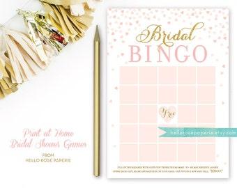 Pink and Gold Bridal Shower Bingo Game . Blush Pink and Gold . DIY Printable Bridal Shower Games . Gold Glitter . Confetti Hearts