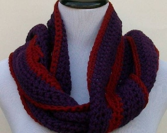 Crochet Scarf, Purple and Red Scarf, Handmade Scarf, Fringed Scarf