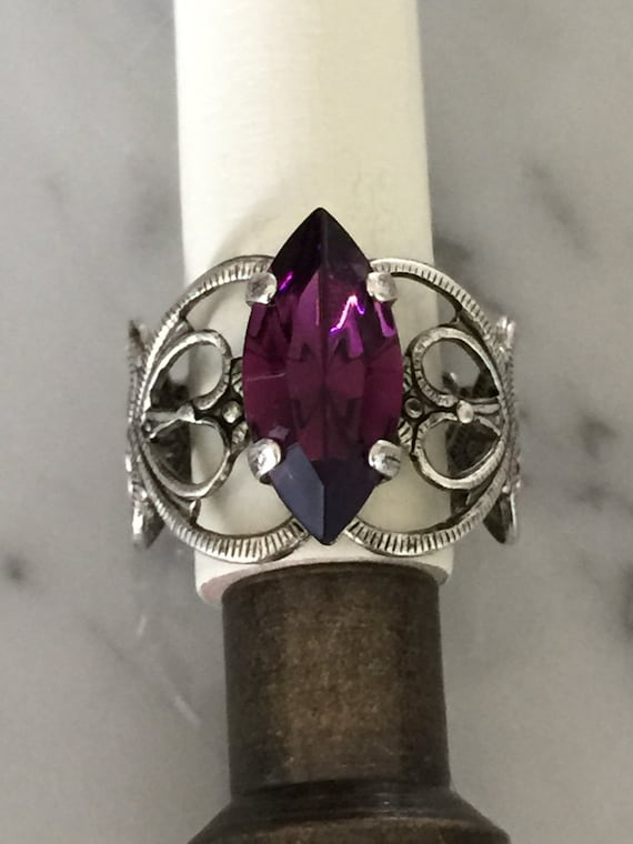 Swarovski Amethyst Filigree Ring,  Amethyst Crystal Adjustable Ring, Swarovski Amethyst Crystal Ring