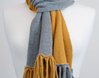 Gold and Grey 2 colour lambswool Scarf