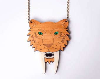 Sabre Tooth Tiger Necklace, Cat Necklace, Tiger Jewelry, Smilodon Necklace, Laser Cut Necklace, Wooden Necklace, Statement Necklace
