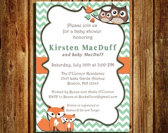 Woodland creatures themed Baby Shower invitation - Fox and Owl Invitation - Gender Neutral Baby Shower Invitation - Digital - Printed -