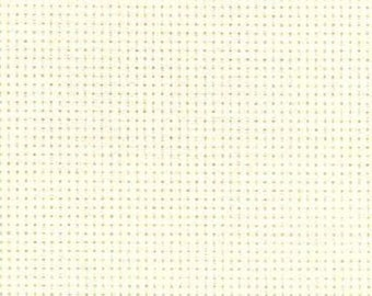 AIDA 18 Count Fabric. Antique White Cross stitch fabric. Permin embroidery cotton. Made in Denmark.