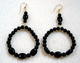 Black Onyx Hoop Earrings, Stone Bead Jewelry, Handmade Beaded Jewelry, Beaded Hoop Earrings, Goldfilled Earwires