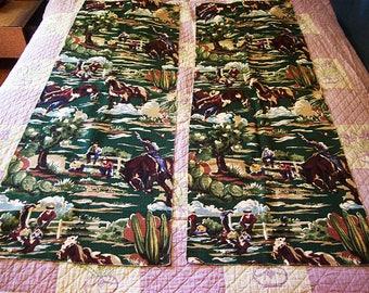 retro cowboy barkcloth fabric vintage Fifties ranchhouse rockabilly kitsch