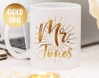 Mr mug, gold foil mug customized gift for him