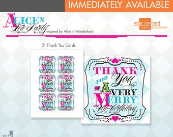 """Alice in Wonderland Inspired Tea Party Printable 3"""" Square Thank You Tag / Note Cards - DIY Print - Alice's Tea Party - Instant Download"""