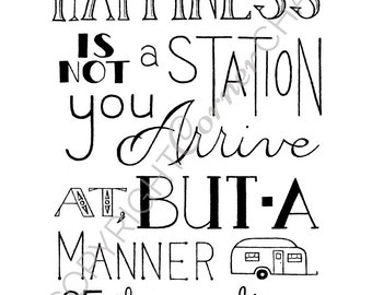 Happiness Embroidery Pattern, PDF Embroidery File, Wanderlust Quote, Embroidery Pattern, PDF Embroidery Pattern, Camper Embroidery Pattern