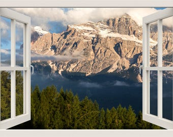 Mountain Wall Decal, Mountain Wall Sticker, Alpes Mountain 3d Window Wall Decal, Nature Animals Window Frame Wall Decal, Home Decor