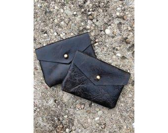 SALE • Limited Edition CARD WALLET Crackle Black Leather • Business Card Holder • Credit Card Case