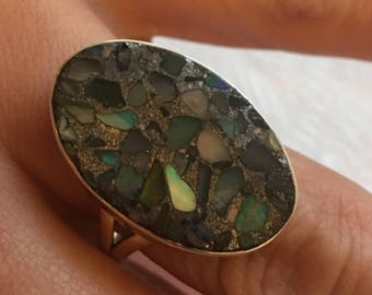 Size 64 - Ethiopian Opal ring in pyrite natural stone, sterling silver 925.