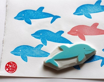 dolphin rubber stamp | marine animal stamp | diy summer birthday baby shower card making | craft gift for kids | hand carved by talktothesun