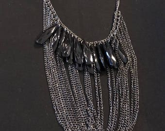 Silver Bib Necklace - Black Beads