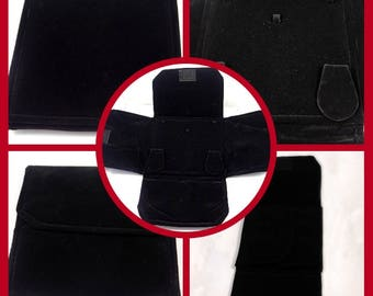 15x15 Cm. Black Velvet Foldable Necklace Jewelry Cover Case