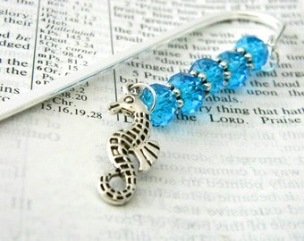 Seahorse Bookmark with Aqua Blue Glass Beads Shepherd Hook Steel Bookmark Silver Color