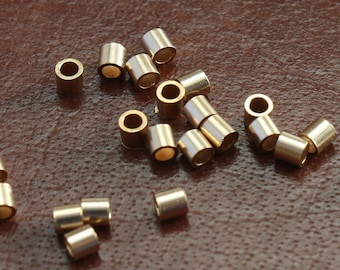 Gold Filled Crimp Bead Tubes 2 x 2mm - Select Pack Size