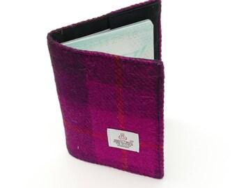 Travel gift - Fuchsia pink RFID Passport Holder, passport wallet, HARRIS TWEED passport case, blocking fabric passport folder