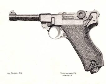 Art Print - Pen & Ink Drawing, A4 - Luger Parabellum